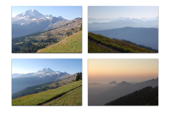 Four Photos from Skyline Divide of the Mt. Baker area.
