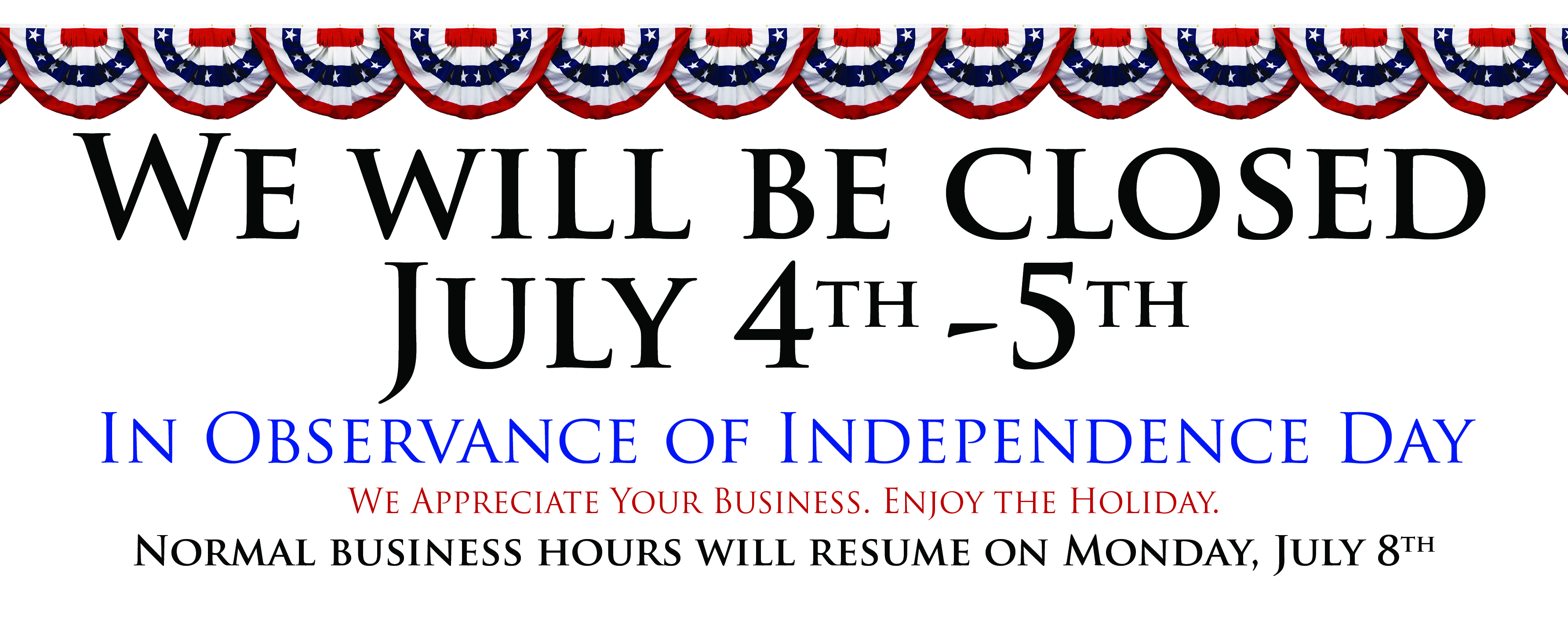 Closed Independence Day19 Facebook Banner