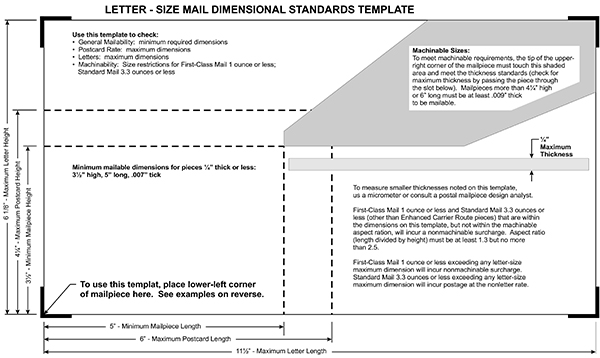 Postal size requirements print copy factory for Letter size mail dimensional standards template